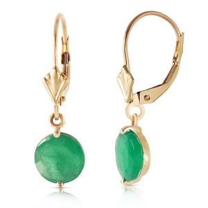 14K. SOLID GOLD LEVERBACK EARRING WITH EMERALDS